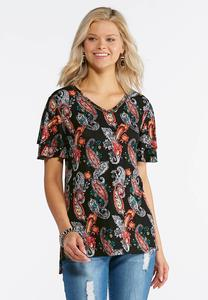 Black Paisley Flutter Sleeve Top