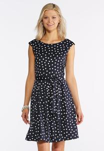 Navy Polka Dot Fit and Flare Dress