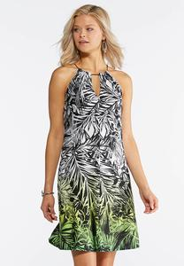 Tropical Halter Swing Dress