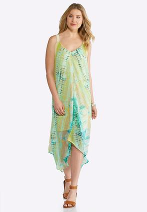 Plus Size Watercolor Hanky Hem Dress | Tuggl