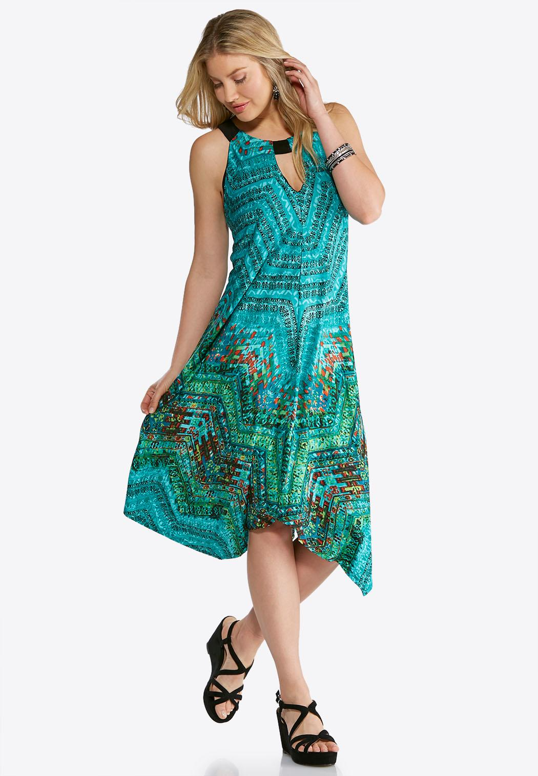 Plus Size Keyhole Printed Hanky Hem Dress Dresses Cato Fashions