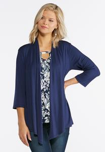 Plus Size Cardigan Layered Tank