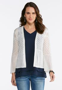 Plus Size Ivory Pointelle Cardigan