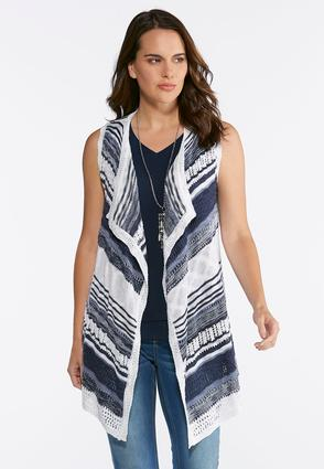 Plus Size Stripe Pointelle Sweater Vest at Cato in Brooklyn, NY | Tuggl