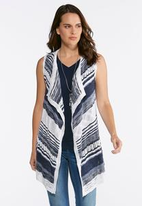 Plus Size Stripe Pointelle Sweater Vest