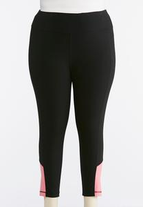 Plus Size Cropped Pink Inset Leggings