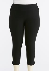 Plus Size Cropped Knotted Cutout Leggings