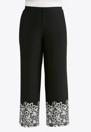 Plus Size Lacy Puff Print Palazzo Pants | Tuggl