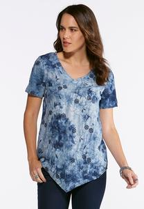 Plus Size Navy Tie Dye Embroidered Top
