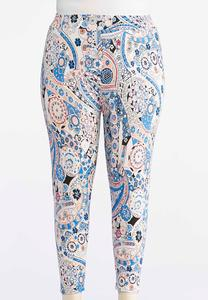 Plus Size Floral Paisley Capri Leggings