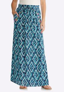 Plus Size Embroidered Ikat Maxi Skirt