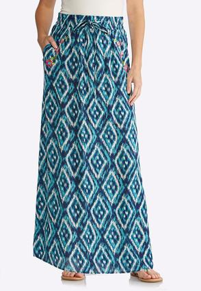 Embroidered Ikat Maxi Skirt