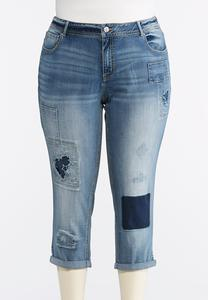 Plus Size Star Patchwork Denim Crops