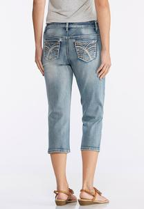 Cropped Light Wash Embellished Jeans