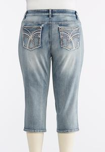 Plus Size Cropped Light Wash Embellished Jeans