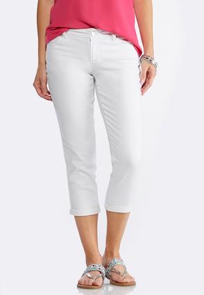 Cropped White Denim Jeans | Tuggl