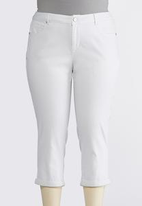 Plus Size Cropped White Denim Jeans