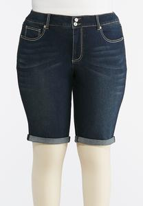 Plus Size Dark Denim Bermuda Shorts