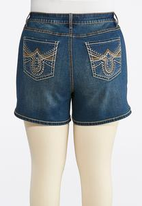 Plus Size Embellished Denim Shorts