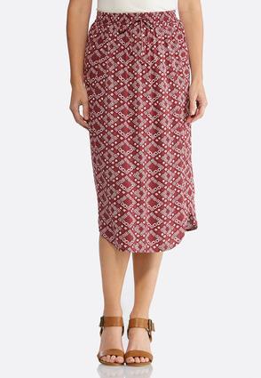 Red Print Tie Waist Skirt | Tuggl