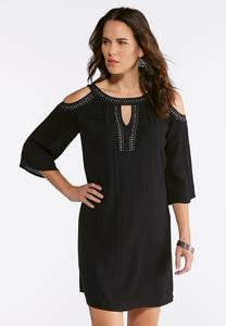 Crepe Cold Shoulder Dress