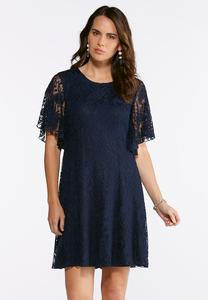 Plus Size Paisley Lace Fit And Flare Dress