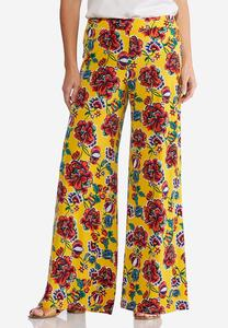 Petite Gold Floral Palazzo Pants