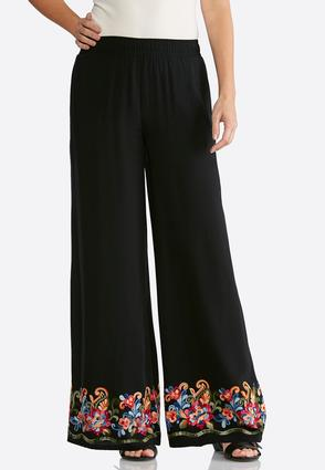 Bright Floral Embroidered Palazzo Pants