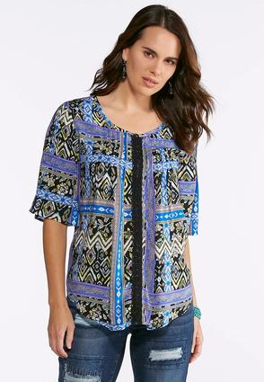 Plus Size Lace Trim Printed Top