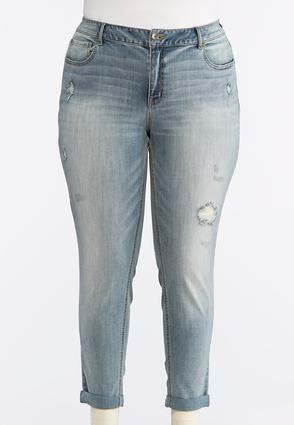 Plus Size Distressed Light Tint Ankle Jeans | Tuggl