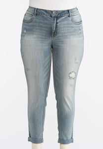 Plus Size Distressed Light Tint Ankle Jeans