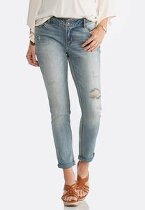 Distressed Light Tint Ankle Jeans