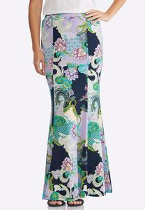 Plus Size Floral Paisley Mermaid Skirt