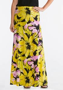 Plus Size Brilliant Bloom Maxi Skirt