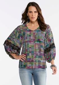 Plus Size Multi Dotted Lace Trim Poet Top