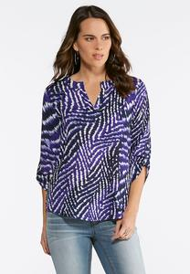 Plus Size Optic Weave Top