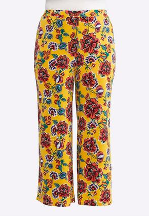 Plus Size Gold Floral Palazzo Pants | Tuggl