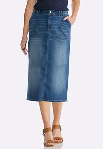 Plus Size Patch Pocket Denim Skirt