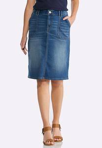 Patch Pocket Denim Skirt