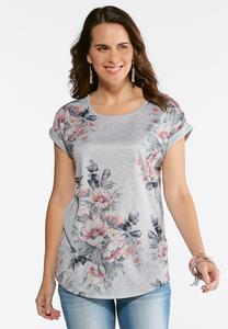 Plus Size Floral Bird Cuffed Sleeve Tee