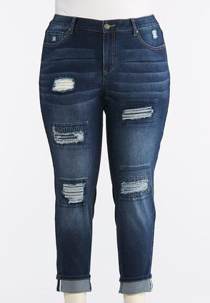 Plus Size Heavy Distressed Cuffed Ankle Jeans | Tuggl