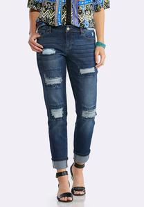 Heavy Distressed Cuffed Ankle Jeans