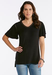 Solid Tiered Sleeve Top