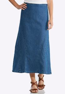 Plus Size Denim Side Zip Mermaid Skirt