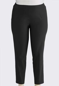 Plus Size Pull-On Solid Slim Pants