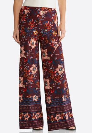 Border Wine Floral Palazzo Pants | Tuggl