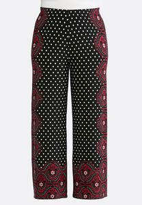 Plus Size Polka Dot Medallion Palazzo Pants