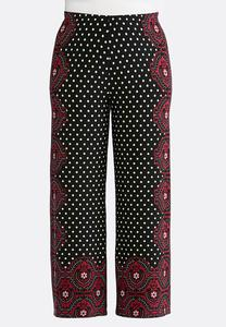 Plus Petite Polka Dot Medallion Palazzo Pants