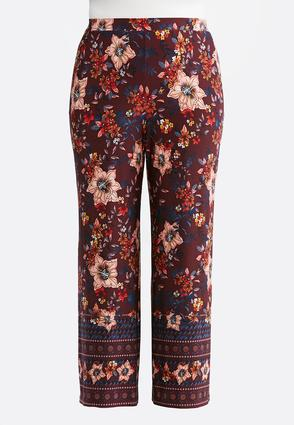 Plus Size Border Wine Floral Palazzo Pants