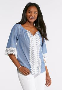 Lace Embellished Poet Top